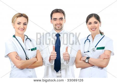 Team of young and smart medical workers isolated on white