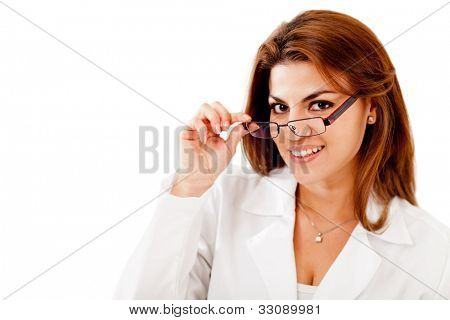 Woman wearing glasses - isolated over a white background