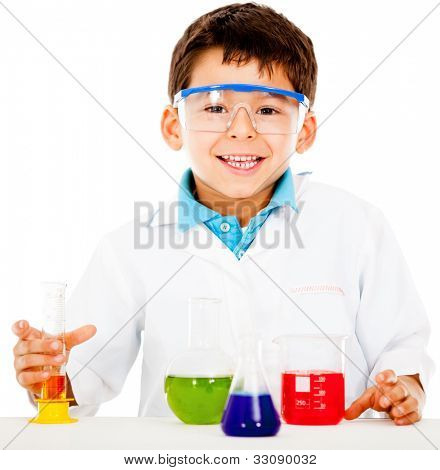 Boy making experiments at the laboratory - isolated over  white background