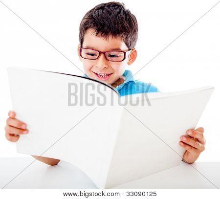 Boy reading a book thirsty for knowledge - isolated over a white background