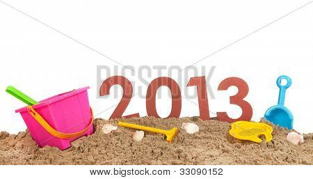 Urlaub 2013 am Strand isolated over white background