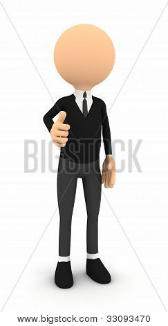 3d businessman showing thumbs on white background