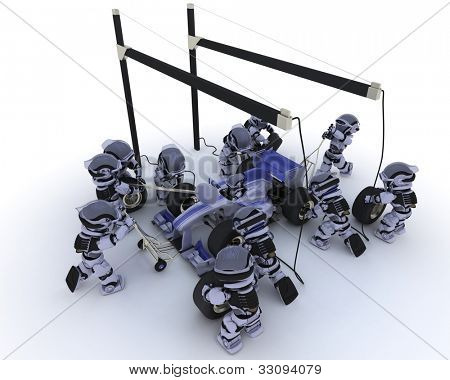 3D Render of a Race car pit stop