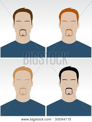 Set of simple male faces with different hair color for documents
