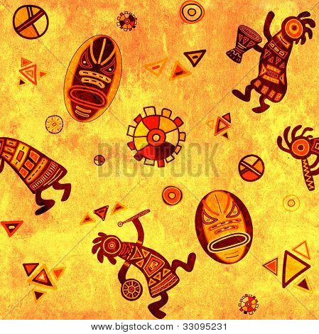 Seamless grunge background with african traditional patterns