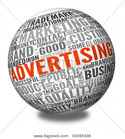Advertising concept in word tag cloud on 3d sphere