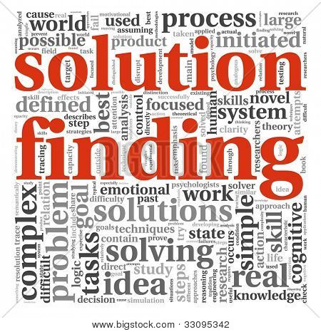 Solution finding concept in word tag cloud on white background