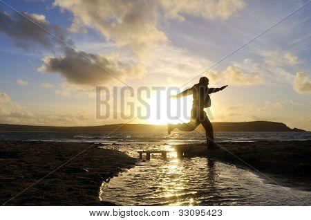 Silhouette Man Jumping.