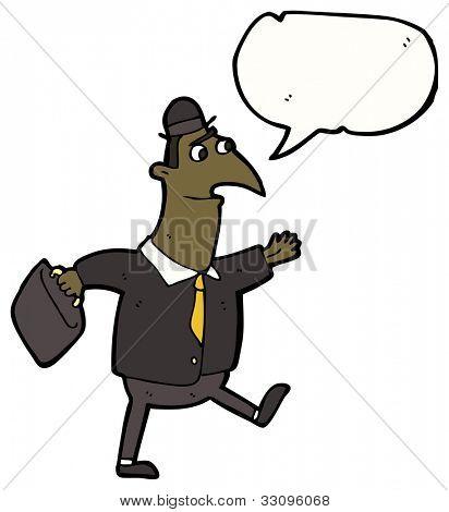 cartoon man walking to work