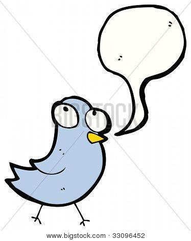 pájaro azul con el bocadillo de diálogo de la historieta