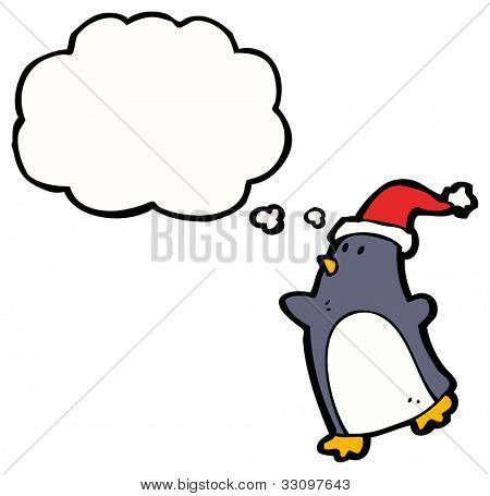 cartoon penguin with santa hat