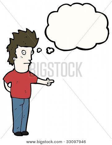 homem de Cartoon apontando e olhando para
