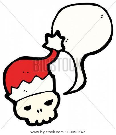 cartoon skull in santa hat