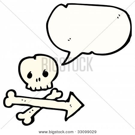 cartoon skull and crossbones direction sign