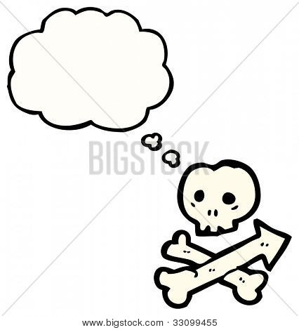 cartoon skull and crossbones direction sign