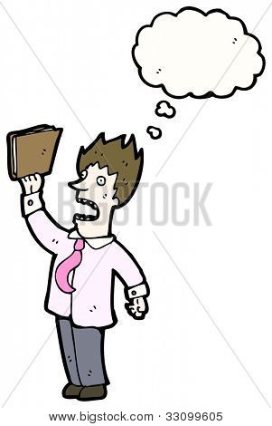 cartoon stressed businessman waving files