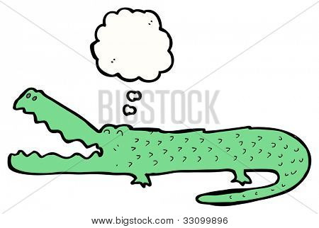 cartoon alligator with thought bubble