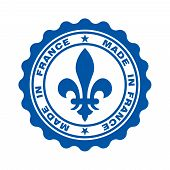 Stamp With Text Made In France. Logo French Quality. Heraldic Lily In Circle. Icon Premium Quality.  poster