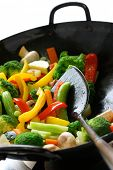 pic of chinese wok  - stir fried vegetables in a chinese wok - JPG