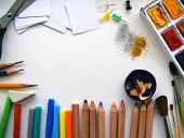 Stationary. Office Supplies On A White Sheet Of Paper. Back To School And Supplies On White Backgrou poster
