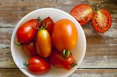 image of juliet  - Fresh Roma and Juliet tomatoes picked fresh from the garden grouped in a white bowl - JPG