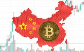 China Map Silhouette Made Of Binary Code With A Golden Bitcoin Coin, Against The Background Of The D poster