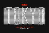 Tokyo T-shirt Design With Slogan From 3d Line Font. Japan Modern Typography Graphics For Apparel Wit poster