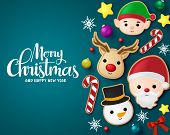 Christmas Elements Vector Banner Template. Merry Christmas Greeting Typography In Blue Empty Space W poster
