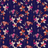 Floral Seamless Pattern. Vector Illustration Of Abstract Leaves, Flowers, Petunias, Lilies And Hibis poster