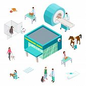 Pet Care Concept. Isometric Veterinary Clinic Isolated On White Background. Veterinarian Volunteer P poster
