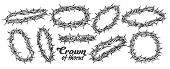 Crown Of Thorns Religious Symbols Set Ink Vector. Collection Of Christ Authentic Crown In Different  poster