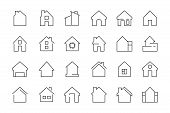Home Web Icon. Building Complex Garage Hotel Room Entrance Door Vector Thin Line Symbols. Building C poster