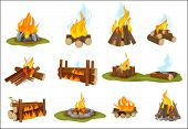 Fireplace Wooden. Light Flame Burned Bonfire With Smoke Campfire Vector Collection. Illustration Fir poster