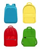 Backpack Realistic. School Bag Personal Leather Travel Luggage Vector Mockup Objects. Illustration S poster