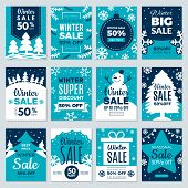 Christmas Sale. Winter Promotional Labels Cards Advertising Special Offers Season Sales And Perfect  poster