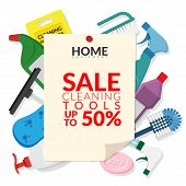 Vector Set Of Household Supplies Cleaning Product , Equipment Tools Of House Cleaning Isolated On Wh poster