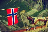 Norwegian Flag And Trollstigen Viewing Point poster