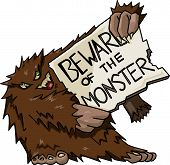 stock photo of bigfoot  - Vector bigfoot holding a sign  - JPG