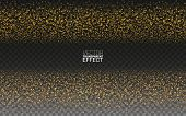 Magic Gold Glitter Star Dust Trail Sparkling Particles Wave Abstract Background. Gold Glittering On  poster