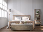A Vintage Style Bedroom With Blank Plank Walls 3d Render, With Wooden Floors, White Plank Walls Deco poster