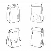 Lunch Bag Set. Paper Lunch Box Collection Hand Drawn Vector Sketch poster
