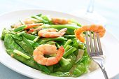 picture of snow peas  - Salt and pepper shrimp with snow peas - JPG