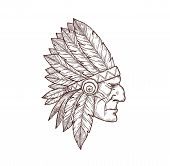 Indian Chief Head In Indigenous Headdress Of Eagle Feathers, Tattoo. Vector Western And Native Ameri poster