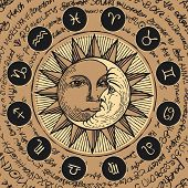 Vector Circle Of The Zodiac Signs In Retro Style With Icons, Decorated With Hand-drawn Sun And Cresc poster