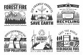 Save Earth, World Environment Day, Nature Protection And Conservation Ecology Icons. Vector Alternat poster