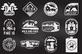 Set Of Outdoor Adventure Quotes On The Chalkboard. Vector. Concept For Shirt Or Logo, Print, Stamp T poster