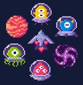 Pixel Game Icons Vector, Planet And Spaceship, Aliens In Uniforms In Video-game. Hourglass And Butto poster