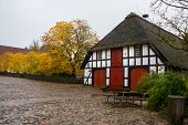 Historic Danish House On The Egeskov Castle Grounds. Landscape With Beautiful Autumn. Egeskov Slot,  poster