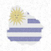 Map Of Uruguay. Mosaic Style Map With Flag Of Uruguay. Vector Illustration. poster