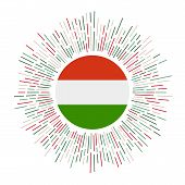 Hungary Sign. Country Flag With Colorful Rays. Radiant Sunburst With Hungary Flag. Vector Illustrati poster